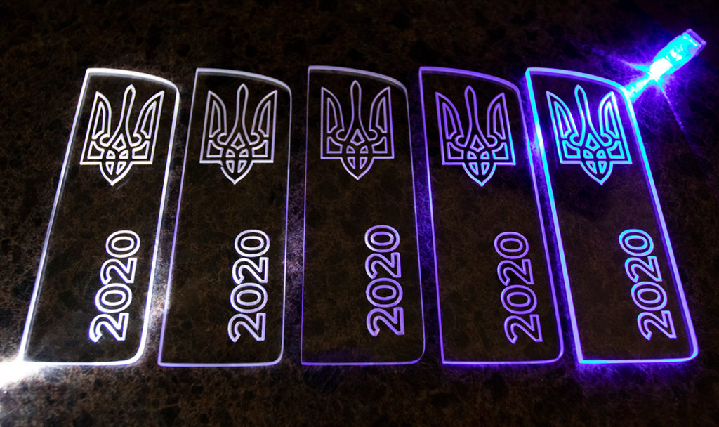 Acrylic LED Date and Trident