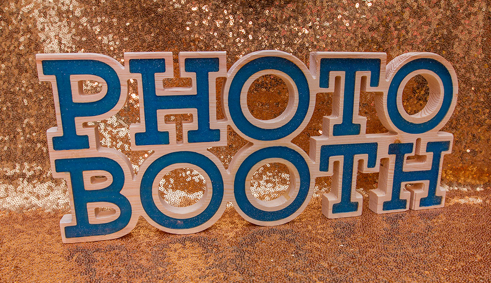 Photo Booth Signage with Blue Sparkle Epoxy